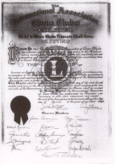 Lions Assens charterbrev